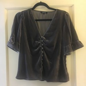 Madewell gray velvet blouse